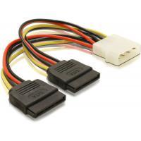 Molex naar 2x SATA Power Kabel Lengte 2x 20cm